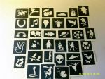 Stencils for glitter tattoos